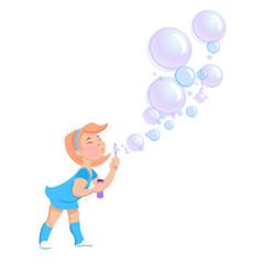 cartoon girl blowing soap bubbles
