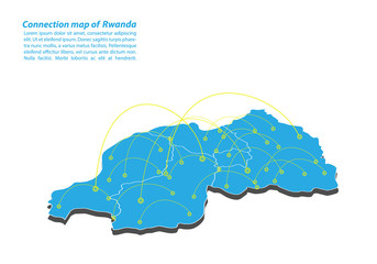 Modern of rwanda Map connections network design, Best Internet Concept of rwanda map business from concepts series, map point and line composition. Infographic map. Vector Illustration.