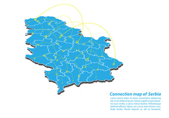 Modern of Serbia Map connections network design, Best Internet Concept of Serbia map business from concepts series, map point and line composition. Infographic map. Vector Illustration.