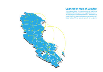 Modern of sweden Map connections network design, Best Internet Concept of sweden map business from concepts series, map point and line composition. Infographic map. Vector Illustration.