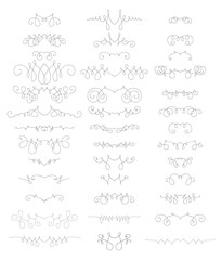 Collection of beautiful lines calligraphic ornaments and dividers. Decor of design elements, decorations for postcard, banners, dividers. Vector illustration template.