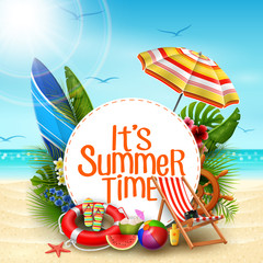 It's summer time banner design with white circle for text and beach elements in sand beach background
