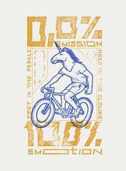 no emission all emotions - unicorn head bicycle rider t-shirt print