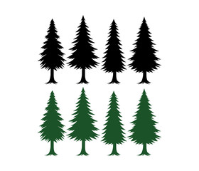 pine tree silhouette set vector template green and black