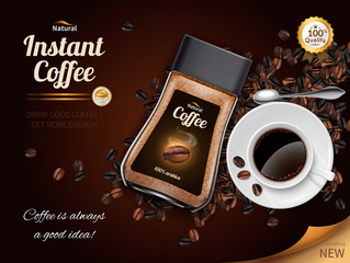 Instant Coffee Realistic Poster