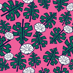 Colorful tropical pattern with exotic plants. Seamless vector tropical pattern with leaves and flowers.