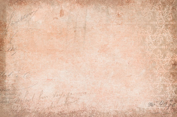 Vintage antique texture, soft rose colored with nostalgia ornaments and calligraphy