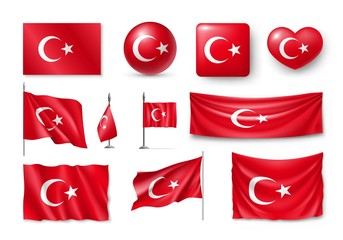 Set Turkey flags, banners, banners, symbols, flat icon. Vector illustration of collection of national symbols on various objects and state signs