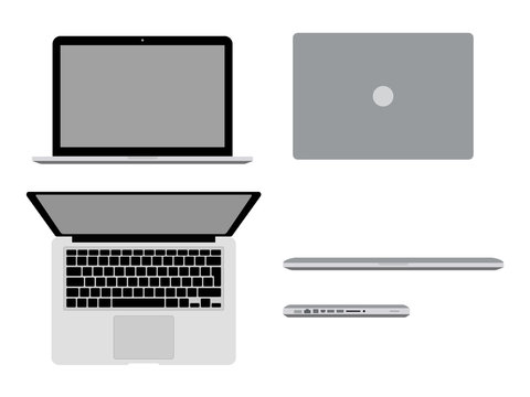 MacBook Pro in different positions Vector illustration