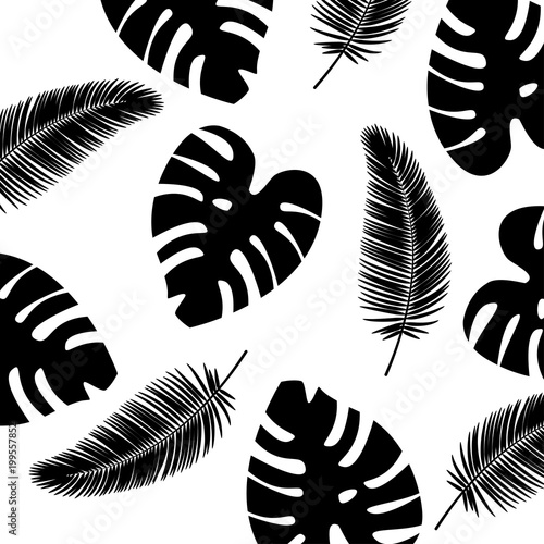 vector background tropical leaves pattern black and white color