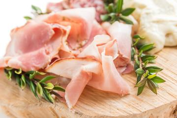 Porchetta, roasted pork ham, typical Italian food
