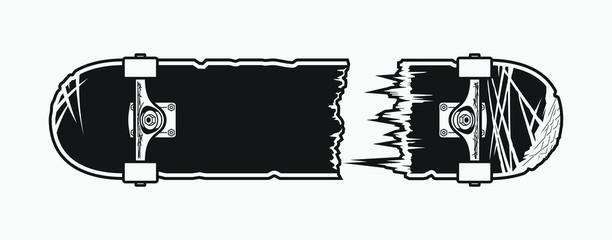 Monochrome broken skateboard design. Vector illustration.