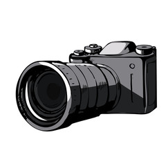 A color image of the camera, notebook and photos . Sketch notebook traveler . 3D vector illustration.