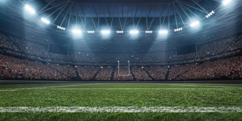Dramatic 3D professional American football arena with green grass and rays of light
