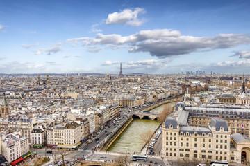 Aerial view of Paris cityscape