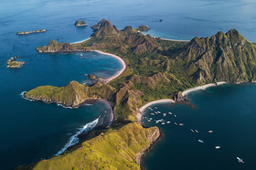 Fotorolgordijn Eiland Aerial view of Pulau Padar island in Komodo national park, Indonesia