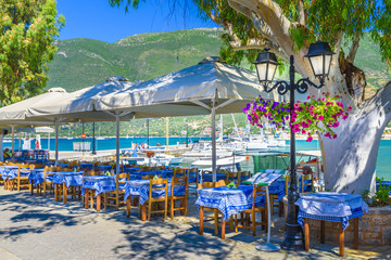 Wall Mural - Taverna of Vasiliki Village, Lefkada island, Greece