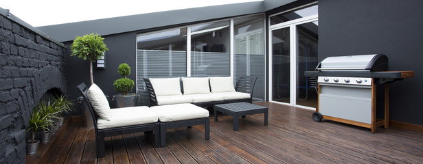 Dark terrace with grill