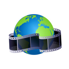 Vector illustration with earth globe and film strip.