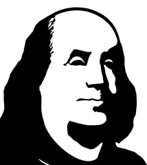 Black and white portrait of Benjamin Franklin on a white background