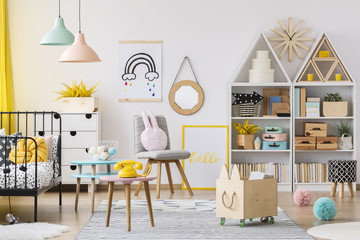 Pastel child's playroom interior