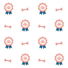winner pets badge seamless vector pattern background illustration