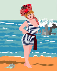 edwardian Lady in old fashioned bathing suit posing on beach, vector illustration