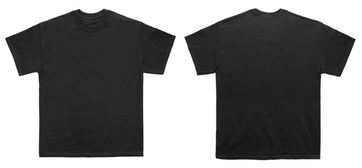 Blank T Shirt color black template front and back view on white background Wall mural