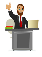 Businessman working in the office. Illustration isolated on white background.