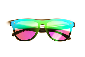 Sunglasses with bright mirror lenses of pink, green and blue colors isolated on white background