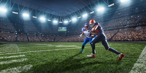 American football players preforms an action play in professional sport stadium Wall mural