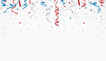 Independence day with american confetti and ribbon