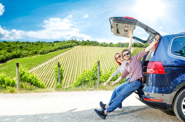 Summer car trip and two lovers in Tuscany.