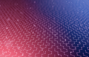 Futuristic Hexagon Pattern Abstract Background. 3d Render Illustration. Space surface. Dark sci-fi backdrop. Dots and lines connections. Science and technology concept. Big data macro wireframe.