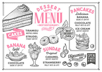 Dessert restaurant menu. Vector food flyer for bar and cafe. Design template with vintage hand-drawn illustrations.