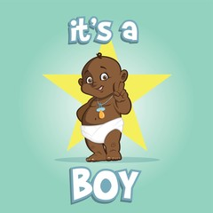Cute African american baby, Greeting card it is a boy on star background,cartoon vector illustration