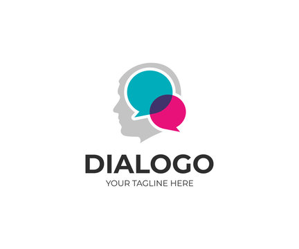 Man social communication logo template. Men head and chat vector design. Human face and speech bubble logotype