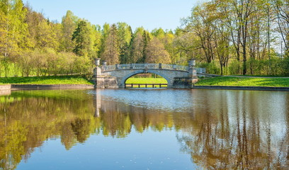 Bridge in the river in an old spring park