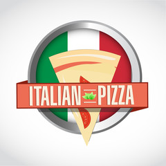 Italian Pizza shield sign and ribbon. design graphic.