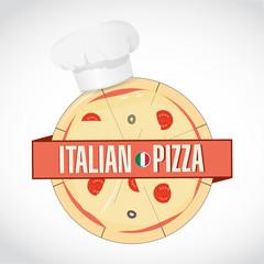 Italian Pizza and chef hat. design graphic
