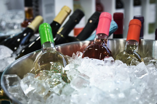 bottles of wine in the ice at the tasting or in the store