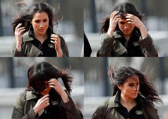 A combination picture shows Meghan Markle adjusting her hair during a visit to watch athletes at the team trials for the Invictus Games Sydney 2018 at the University of Bath Sports Training Village in Bath