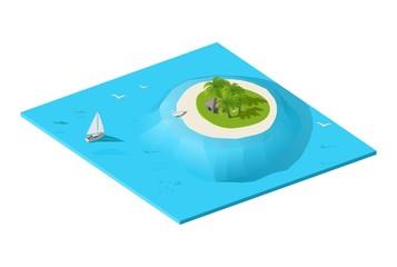 Tropical exotic island in ocean. Isometric vector illustration