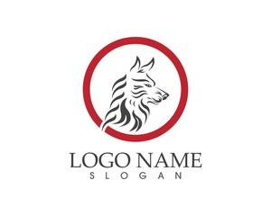 Wolf head logo design vector illustration