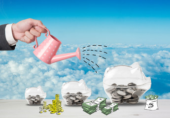 Transparent piggy bank filled with coins on wood background.Saving investment concept.Watering can and money growth drawn concept for business investment, savings and making money.