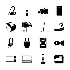 icon Electronic with vacuum cleaner, shoot, currency, cinem and picture