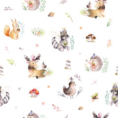Wall Mural - Watercolor seamless pattern of cute baby cartoon hedgehog, squirrel and moose animal for nursary, woodland forest illustration for children. Forest backgraund