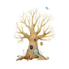 Watercolor vector tree house