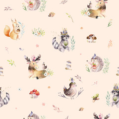 Watercolor seamless pattern of cute baby cartoon hedgehog, squirrel and moose animal for nursary, woodland forest illustration for children. Forest backgraund