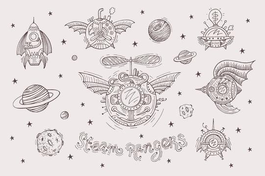 Steampunk set with spacecrafts